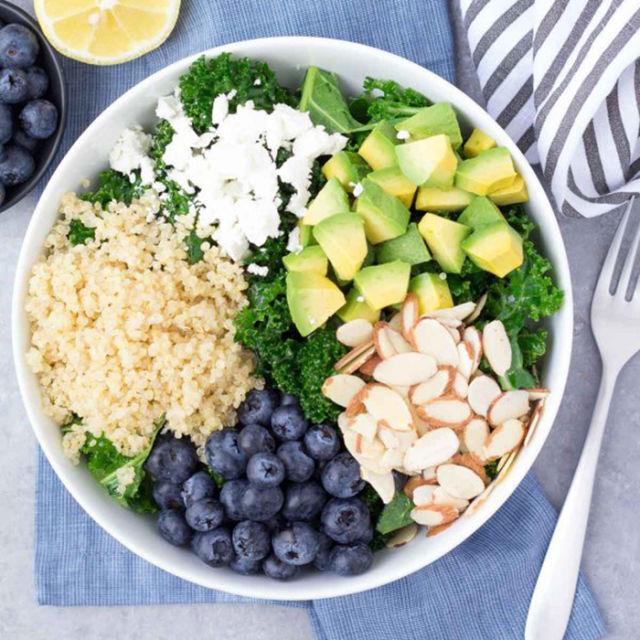 """<p>Blueberries add an unexpected touch of sweetness to this kale salad. And with the nutritional punch from avocado, quinoa, and almonds, it's definitely one recipeworth trying.</p><p><strong>Get the recipe at<a rel=""""nofollow"""" href=""""http://kristineskitchenblog.com/kale-superfood-salad-with-quinoa-and-blueberries/"""">Kristine's Kitchen</a>.</strong></p>"""