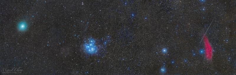 A Comet, Meteor, Nebula and the Pleiades Combine into One Epic Space Photo