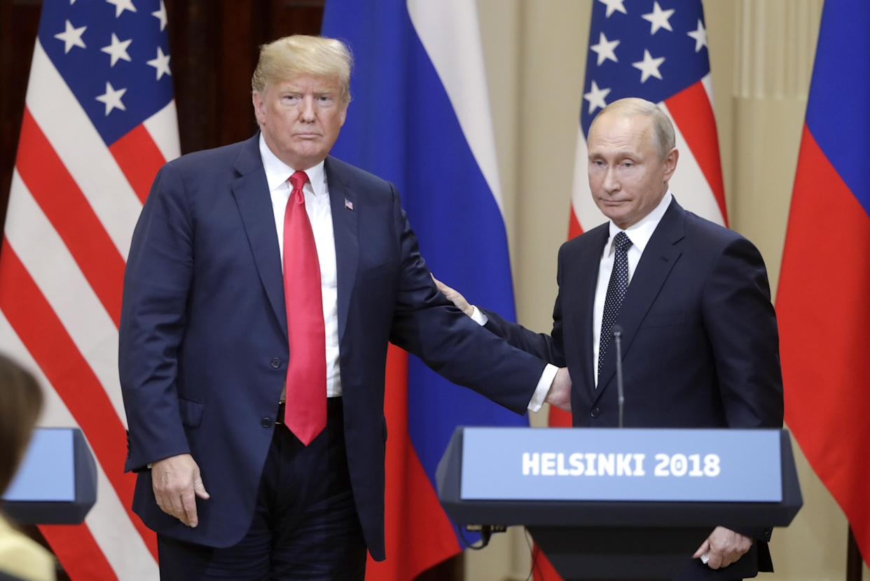 President Trump and Russia's Vladimir Putin give a joint news conference following their meeting. (Photo: Mikhail Metzel\TASS via Getty Images)