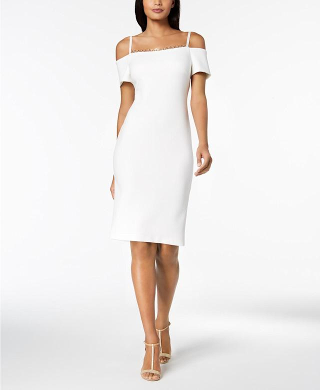 Calvin Klein's take on the cold-shoulder sheath look. (Photo: Calvin Klein)