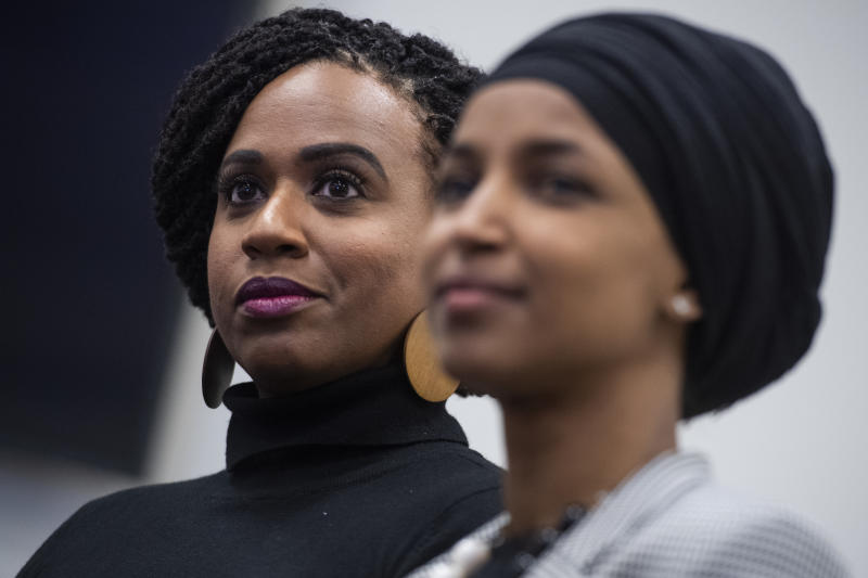 UNITED STATES - DECEMBER 5: Reps. Ilhan Omar, D-Minn., right, and Ayanna Pressley, D-Mass., conduct a news conference in Rayburn Building to introduce legislation that would address disciplinary practices that discriminate against students of color on Thursday, December 5, 2019. (Photo By Tom Williams/CQ-Roll Call, Inc via Getty Images)