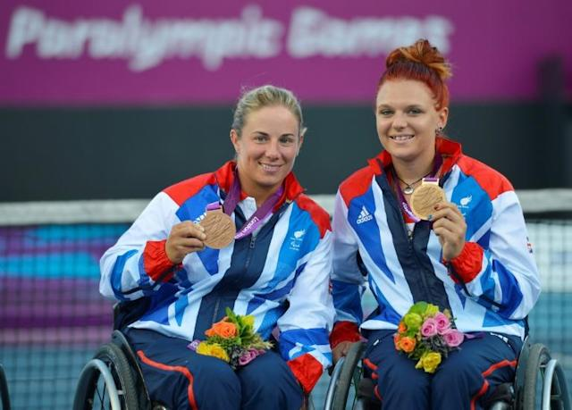 Lucy Shuker (L) says she is worried where funding will come from so she can bid for a third successive Paralympic doubles tennis medal in 2021 (AFP Photo/LEON NEAL)