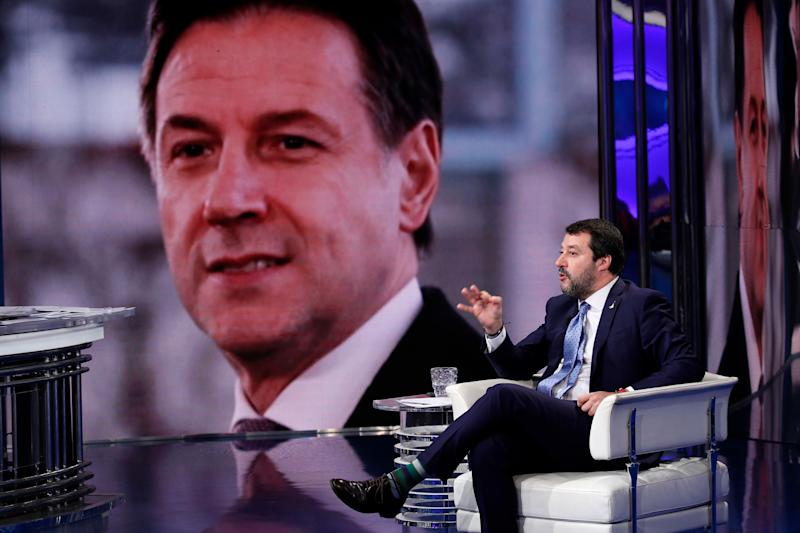 Matteo Salvini, Deputy Prime Minister of Italy and Minister of the Interior, guest of the broadcast Porta a Porta. In the background Giuseppe Conte. Rome (Italy), December 3rd, 2019 (photo by Massimo Di Vita/Archivio Massimo Di Vita/Mondadori Portfolio via Getty Images) (Photo: Mondadori Portfolio via Getty Images)