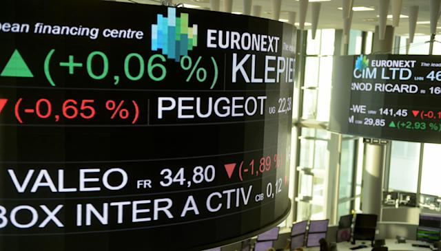 The stock tickers and financial display are pictured at the headquarters of the Pan-European stock exchange Euronext. Photo: Eric Piermont/AFP via Getty Images