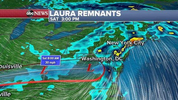 PHOTO: Laura will combine with a cold front and will bring heavy rain and a threat for flash flooding to the Northeast Saturday from Philadelphia to New York City. (ABC News)
