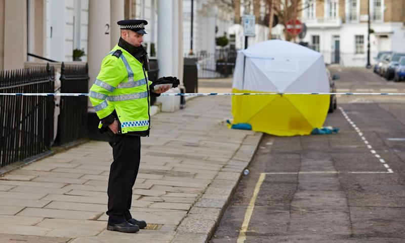 The scene of a stabbing in Pimlico, London