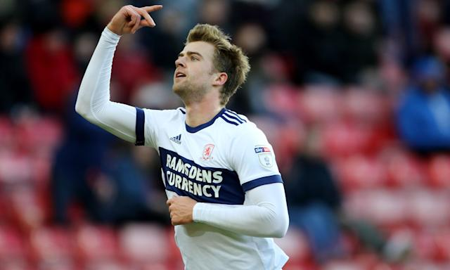 Middlesbrough's Patrick Bamford celebrates scoring his side's third goal of the game against Sunderland.