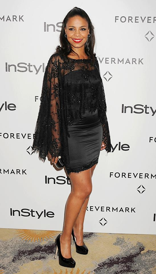 """""""Something New"""" star Sanaa Lathan donned an odd caped lace design. Think she looked hot ... or not? (1/10/2012)"""