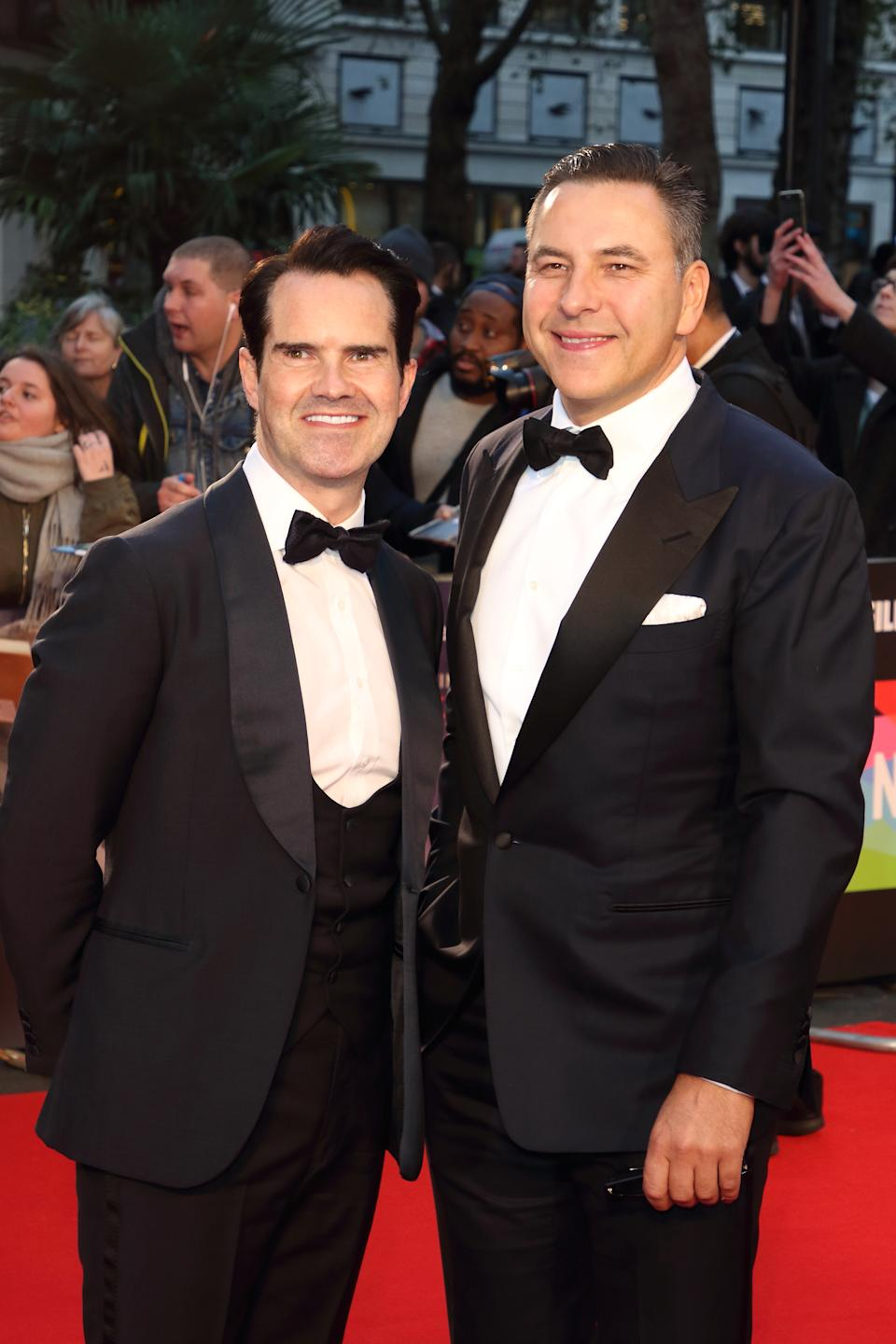 LONDON, UNITED KINGDOM - 2019/10/13: Jimmy Carr and David Walliams attend The Irishman International Premiere and closing Gala during the 63rd BFI London Film Festival at the Odeon Luxe Leicester Square in London. (Photo by Keith Mayhew/SOPA Images/LightRocket via Getty Images)