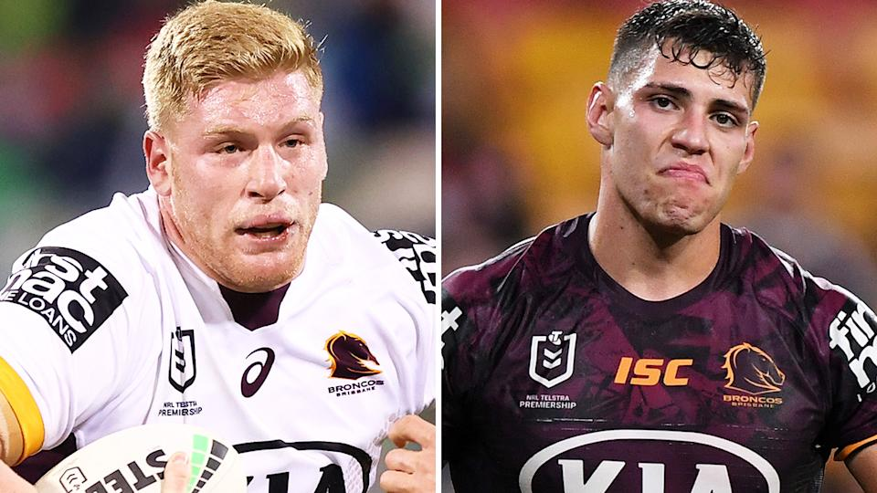 Brisbane Broncos players Thomas Flegler and Jordan Riki have apologised to one another after a Mad Monday joke gone wrong led to the latter needing stitches. Pictures: Getty Images