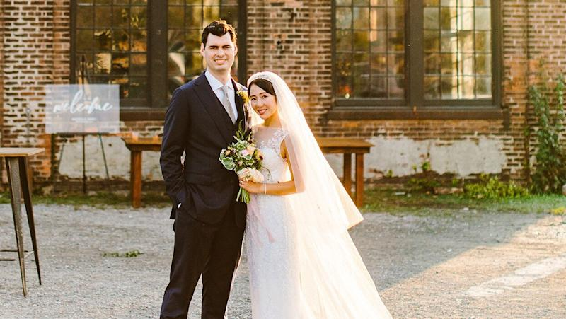 """A """"Rustic Industrial"""" Wedding with Pink-and-Burgundy Accents in Hudson, New York"""