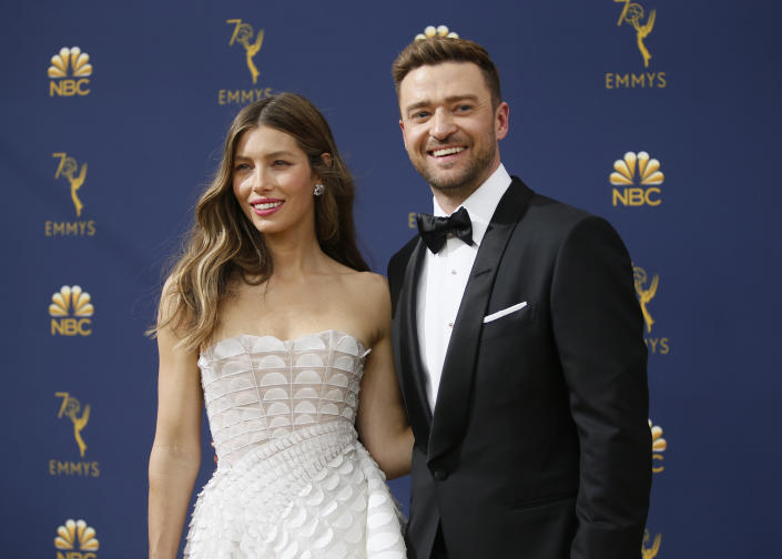 Jessica Biel, left, and Justin Timberlake arrive at the 70th Primetime Emmy Awards on Monday, Sept. 17, 2018, at the Microsoft Theater in Los Angeles. (Photo by Danny Moloshok/Invision for the Television Academy/AP Images)