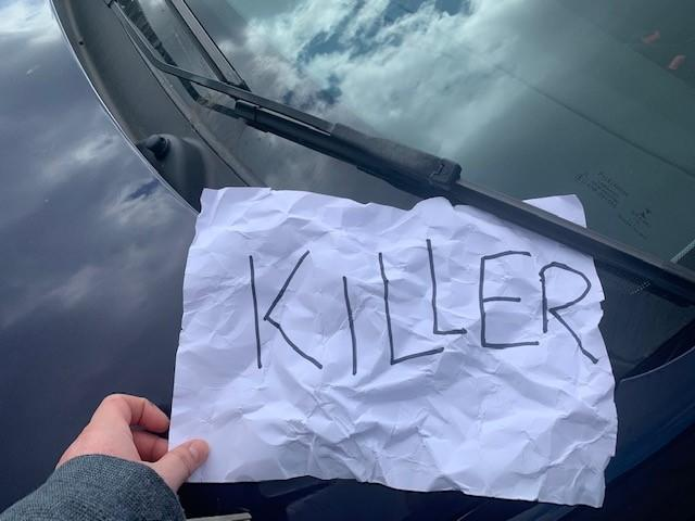 Note left on carer's car in Portsmouth, Hampshire