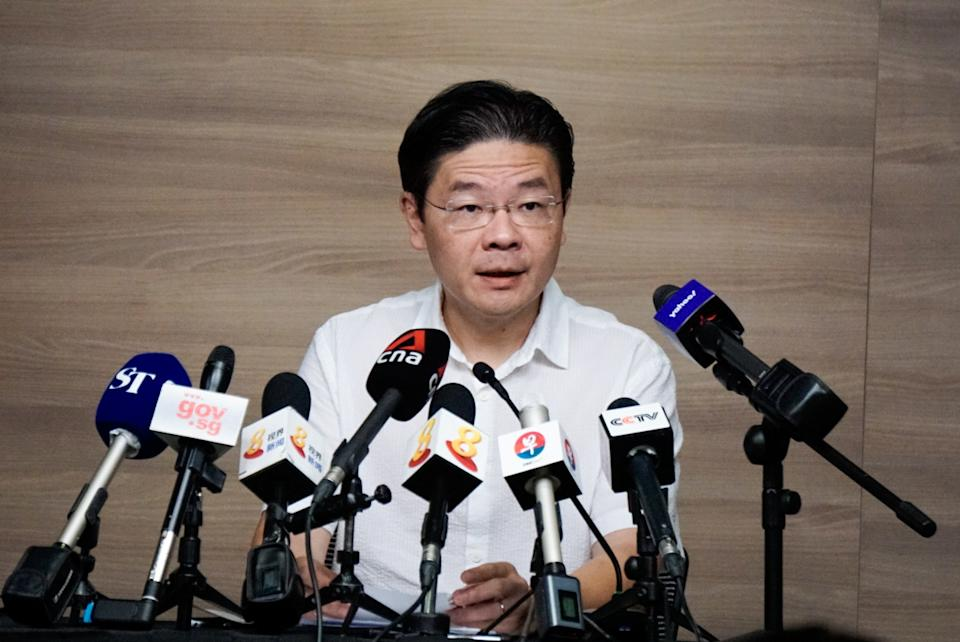 National Development Minister Lawrence Wong speaks during a media doorstop on 22 March 2020. (PHOTO: Dhany Osman / Yahoo News Singapore)