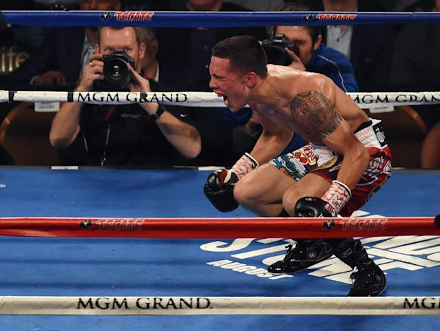 Oscar Valdez celebrates another victory. He defends his WBO featherweight title on Saturday against Scott Quigg on ESPN. (Getty Images)