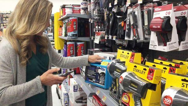 PHOTO: During her own experiment of buying high and selling low, which aired on 'Good Morning America,' tech contributor Becky Worley downloaded the Amazon seller app to my phone and headed to a local superstore. (ABC)