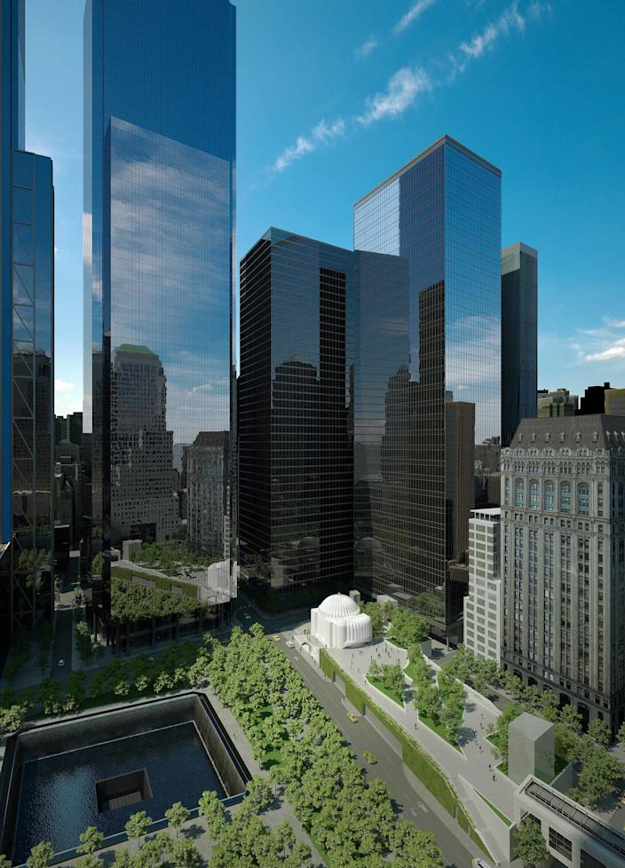 A rendering of the church as it sits at the base of the 9/11 memorial.