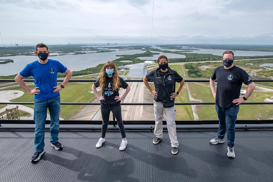 The crew of Inspiration4 at the tower at Launch Complex 39A at Kennedy Space Center. From left, Jared Isaacman, Hayley Arceneaux, Sian Proctor and Chris Sembroski.