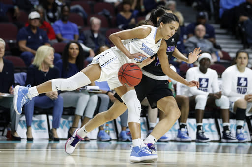 San Diego's Jordyn Edwards (23) drives around Portland's Jayce Gorzeman (14) during the first half of an NCAA college basketball game in the final of the West Coast Conference women's tournament Tuesday, March 10, 2020, in Las Vegas. (AP Photo/John Locher)