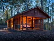 """<p>From $79,900<br></p><p>Inspired by and built by the team responsible for the gorgeous cottages at the <a href=""""http://www.canoebay.com/"""" rel=""""nofollow noopener"""" target=""""_blank"""" data-ylk=""""slk:Canoe Bay resort"""" class=""""link rapid-noclick-resp"""">Canoe Bay resort</a> in the woods of Wisconsin, the 392-square-foot Escape looks like a high-end cabin but is actually a 28- by 14-foot Park Model RV on wheels. Vaulted ceilings and a large window wall give an airy feel to the cottage, which includes a living room with fireplace and kitchen wall and a separate bedroom and bath. Large French doors open to a screened porch that can be used as an extended living room, sleeping porch, or a dining area. The red-striped chaise lounge doubles as a bed with heated coils, perfect for naps on chilly days. Escape is available to rent at Canoe Bay, or can be custom-built for buyers and delivered ready to live-in.</p><p><a class=""""link rapid-noclick-resp"""" href=""""https://www.escapetraveler.net/financing-options"""" rel=""""nofollow noopener"""" target=""""_blank"""" data-ylk=""""slk:SHOP NOW"""">SHOP NOW</a> <a class=""""link rapid-noclick-resp"""" href=""""http://www.escapehomes.us/"""" rel=""""nofollow noopener"""" target=""""_blank"""" data-ylk=""""slk:SEE INSIDE"""">SEE INSIDE</a></p>"""