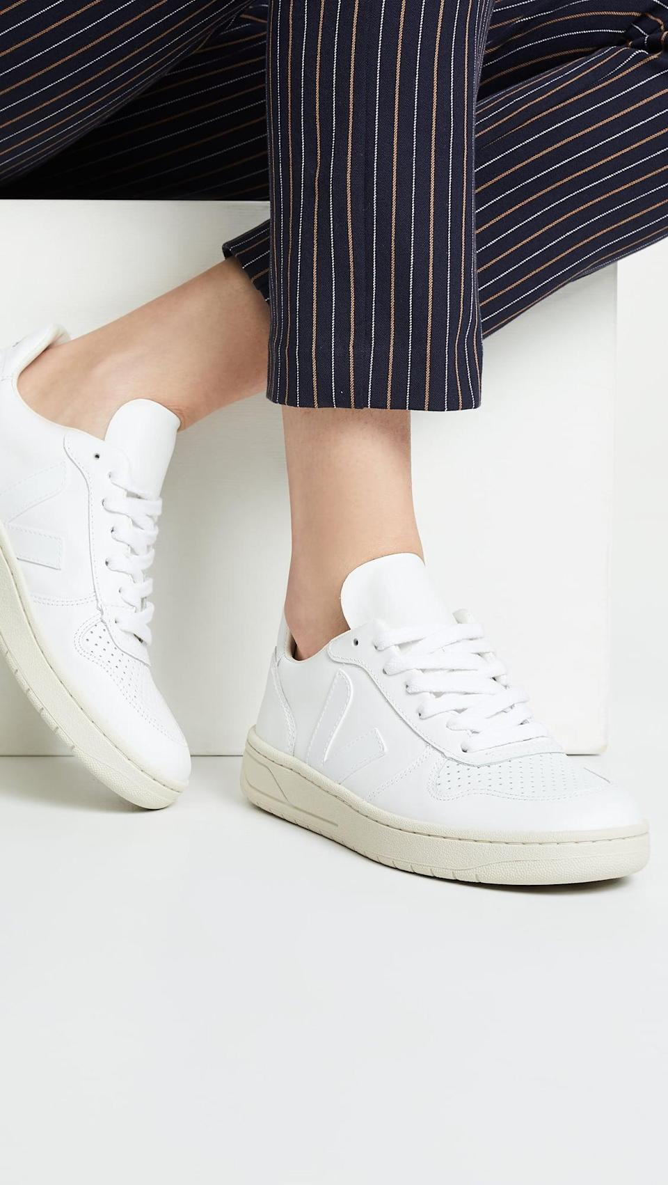 """<p>These <span>Veja V-10 Lace Up Sneakers</span> ($150) are beloved by everyone who wears them. Including, but not limited to, one <a class=""""link rapid-noclick-resp"""" href=""""https://www.popsugar.com/Meghan-Markle"""" rel=""""nofollow noopener"""" target=""""_blank"""" data-ylk=""""slk:Meghan Markle"""">Meghan Markle</a>.</p>"""