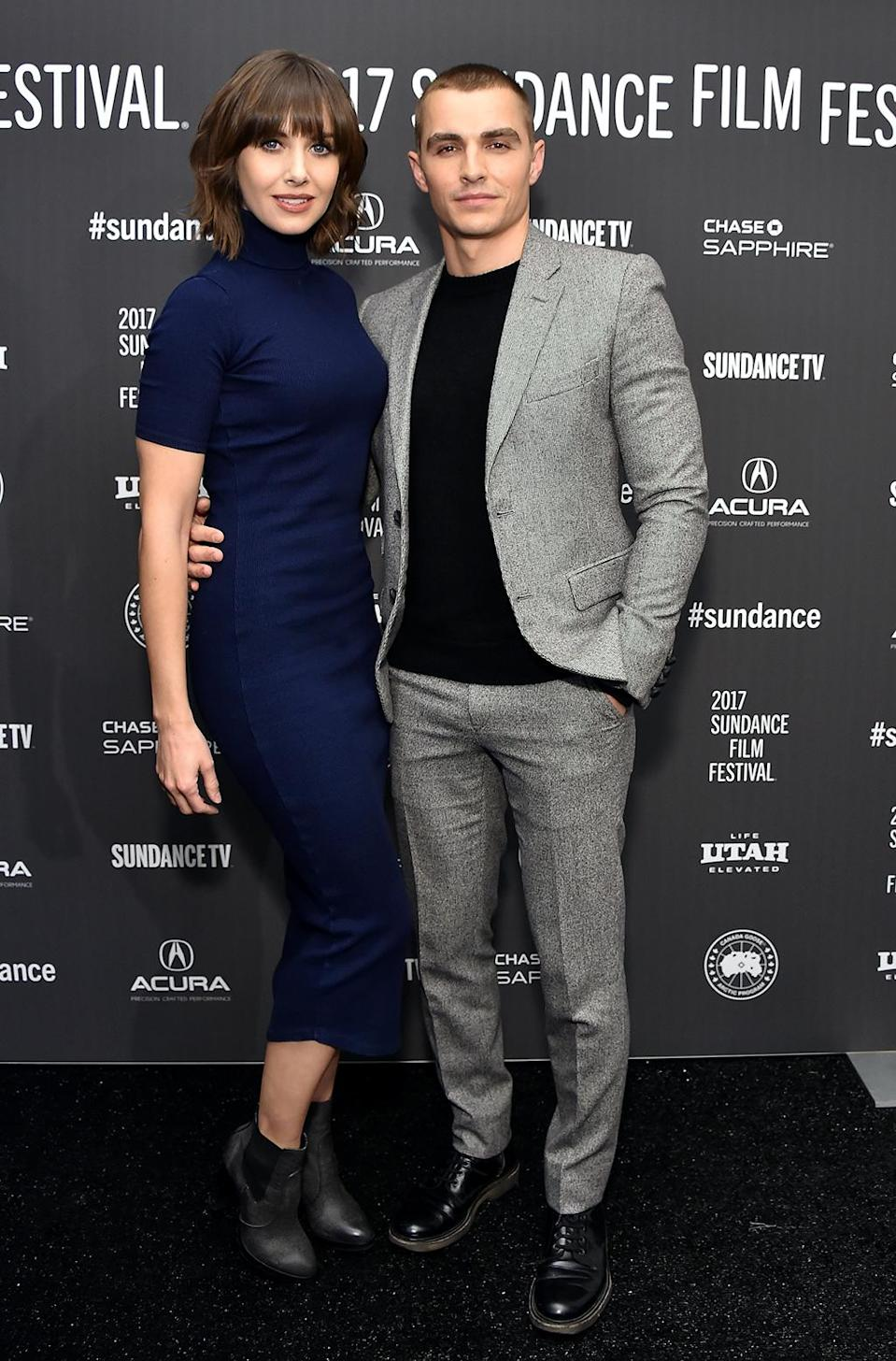<p>The betrothed couple strike a serious pose at the premiere of 'The Little Hours.' (Photo: Michael Loccisano/Getty Images) </p>