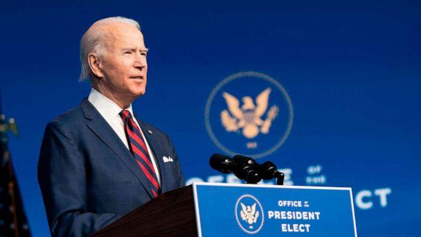 PHOTO: President-elect Joe Biden speaks during an event to introduce key Cabinet nominees and members of his climate team at The Queen Theater in Wilmington, Del. on Dec. 19, 2020. (Alex Edelman/AFP via Getty Images)