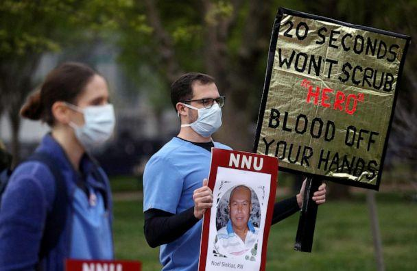 PHOTO: Registered Nurses and members of National Nurses United (NNU), the largest U.S. nurses union, rally outside of the White House, April 21, 2020, on behalf of health care workers who have become infected with the coronavirus disease. (Leah Millis/Reuters)