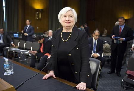 U.S. Federal Reserve Vice Chair Yellen stands after testifying during a confirmation hearing on her nomination to be the next chairman of the U.S. Federal Reserve before the Senate Banking Committee in Washington