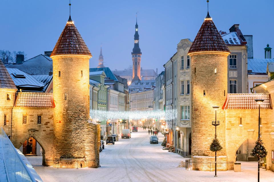 """Tallinn practically overflows with charm, thanks to its turreted castles and a lovely location on the Baltic Sea. The city has one of the best-preserved historical centers in Europe, with many of its medieval churches and merchant houses falling under <a href=""""https://www.cntraveler.com/galleries/2016-07-19/unesco-newest-world-heritage-sites?mbid=synd_yahoo_rss"""" rel=""""nofollow noopener"""" target=""""_blank"""" data-ylk=""""slk:UNESCO protection"""" class=""""link rapid-noclick-resp"""">UNESCO protection</a>. The views of the city center from Toompea Castle are beautiful no matter the season, but they pop even more under a layer of snow—in fact, they make those cold, Baltic winters downright bearable."""