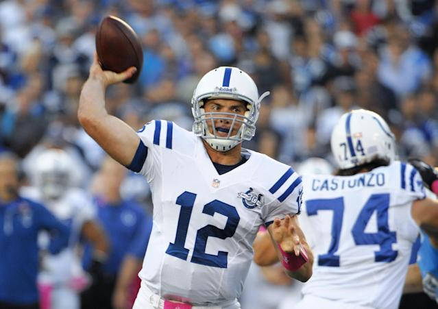 Indianapolis Colts quarterback Andrew Luck throws a pass while playing against the San Diego Chargers during the first half of an NFL football game Monday, Oct. 14, 2013, in San Diego. (AP Photo/Denis Poroy)