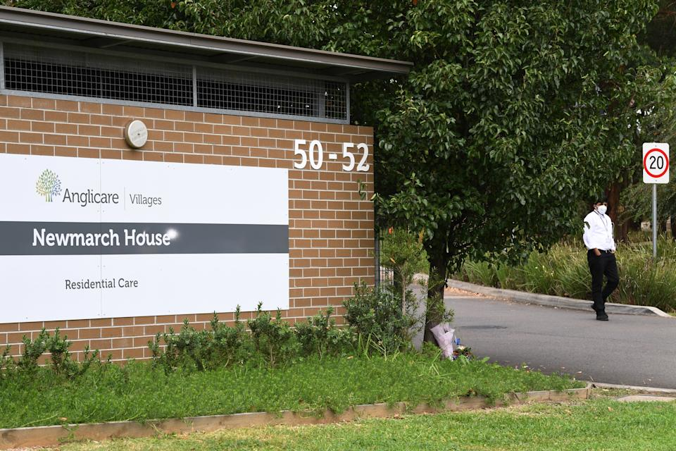 The Anglicare Newmarch House in Kingswood, near Penrith, identified a cluster of cases and deaths. Source: AAP