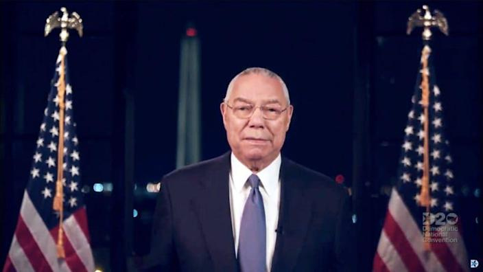 In this screenshot from the DNCC's livestream of the 2020 Democratic National Convention, Former Secretary of State Colin Powell addresses the virtual convention on August 18, 2020. The convention, which was once expected to draw 50,000 people to Milwaukee, Wisconsin, is now taking place virtually due to the coronavirus pandemic. (Photo by DNCC via Getty Images) (Photo by Handout/DNCC via Getty Images)