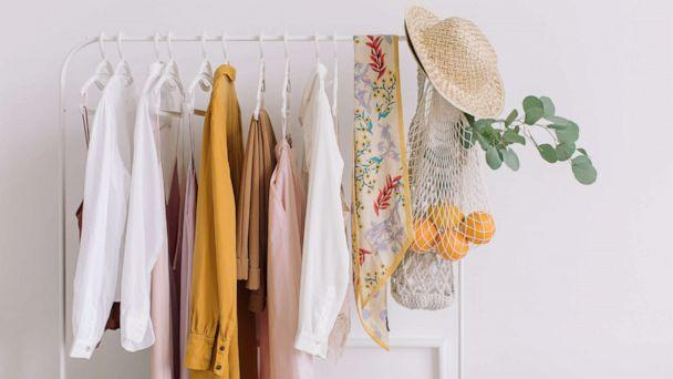 PHOTO: Clothing and accessories hang from a rack in an undated stock photo. (STOCK PHOTO/Getty Images)