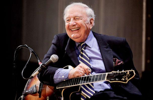 PHOTO: Guitar Player Bucky Pizzarelli performs live at The Duke Jazz Talks at Bruno Walter Auditorium - New York Public Library for the Performing Arts on February 11, 2009 in New York City. (Joe Kohen/WireImage/Getty Images)