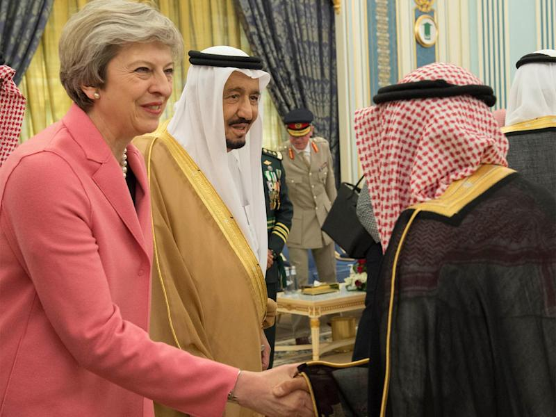 British PM Theresa May with Saudi King Salman Abdulaziz: Reuters