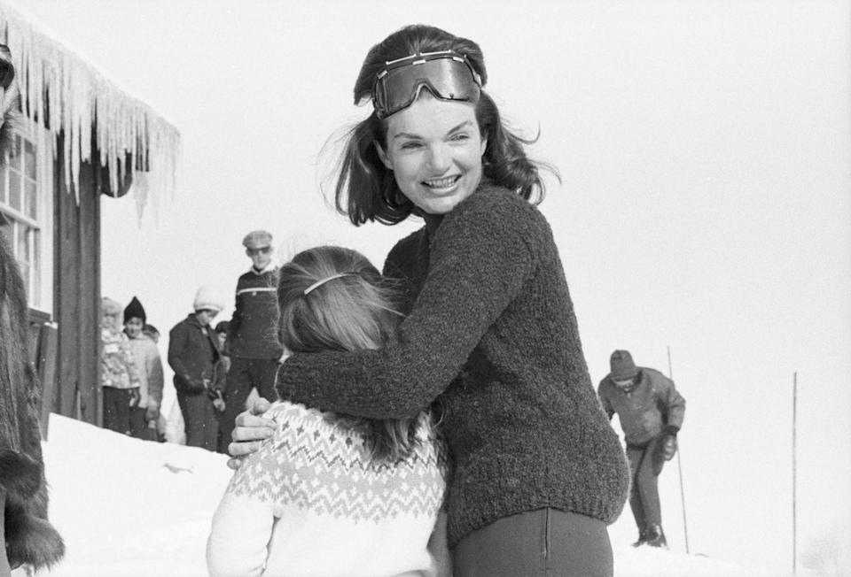<p>Jackie and her daughter Caroline enjoy themselves on a family ski trip. </p>