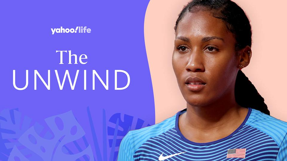 Ajee' Wilson opens up about the Olympics and her approach to mental health and wellness. (Photo: Getty; designed by Quinn Lemmers)