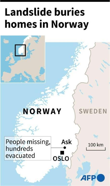 Map locating village of Ask, near Norwegian capital of Oslo, where people are missing and hundreds were evacuated after a landslide.