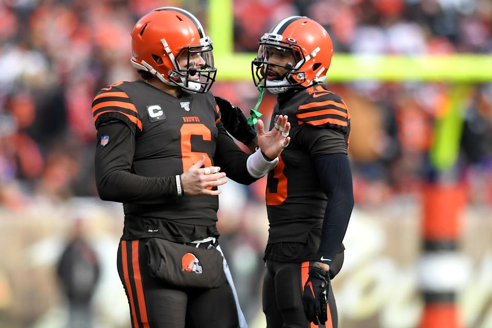 CLEVELAND, OH - DECEMBER 8, 2019: Quarterback Baker Mayfield #6 of the Cleveland Browns talks with wide receiver Odell Beckham Jr. #13 during a replay timeout in the first quarter of a game against the Cincinnati Bengals on December 8, 2019 at FirstEnergy Stadium in Cleveland, Ohio. Cleveland won 27-19. (Photo by: 2019 Nick Cammett/Diamond Images via Getty Images)