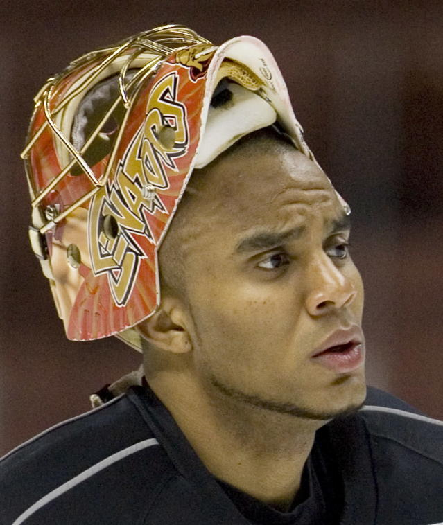 FILE - This June 5, 2007 file photo shows Ottawa Senators goaltender Ray Emery taking a break during a practice in Anaheim, Calif. Emery has drowned in his hometown of Hamilton, Ontario. He was 35. Hamilton Police confirmed Emery was identified as the victim of the swimming accident Sunday, July 15, 2018. (Paul Chiasson/The Canadian Press via AP)