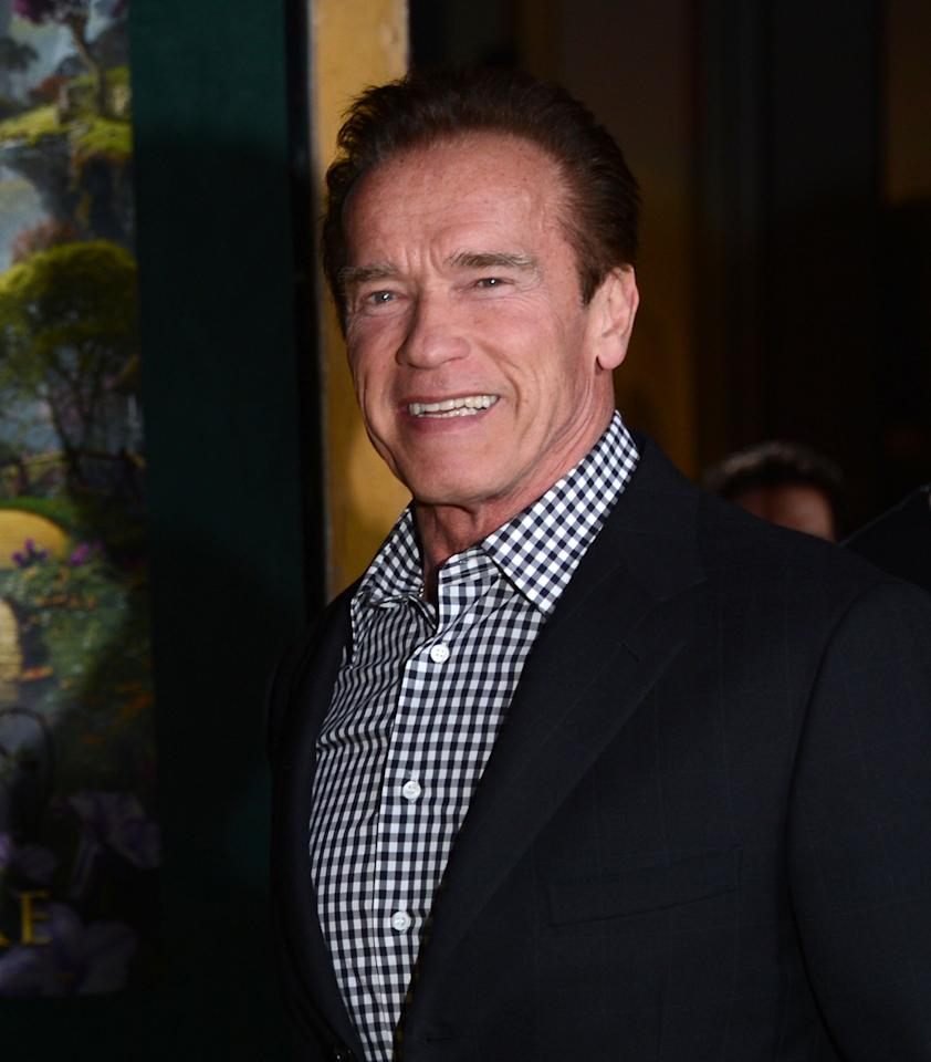 """HOLLYWOOD, CA - FEBRUARY 13:  Actor Arnold Schwarzenegger attends the premiere Of Walt Disney Pictures' """"Oz The Great And Powerful"""" at the El Capitan Theatre on February 13, 2013 in Hollywood, California.  (Photo by Jason Kempin/Getty Images)"""