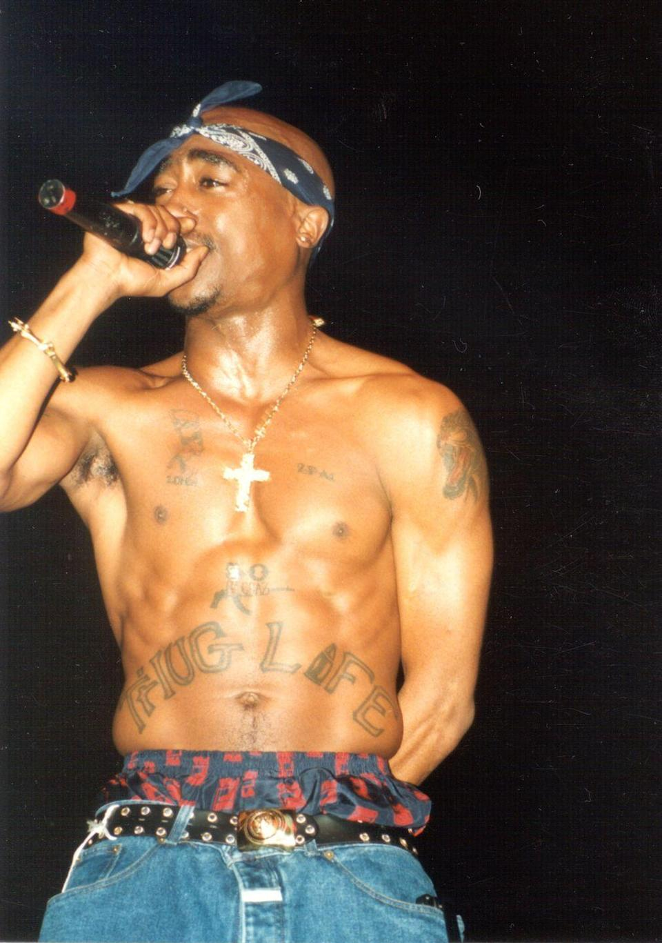 <p>Tupac Shakur at the Regal Theater in Chicago in March 1994.</p>