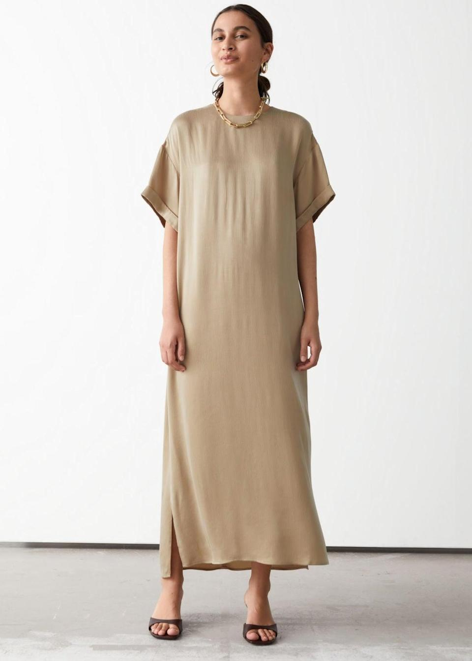 <p>Elevate any future date night with this glossy <span>&amp; Other Stories Cupro Maxi Dress</span> ($129). Style it with a chunky gold necklace and some low-heeled sandals, and you're ready for your dinner, museum date, or anniversary celebration.</p>