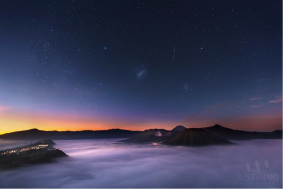 Large and Small Magellanic Clouds together with Canopus were captured during sunrise in Mount Bromo on Sept. 9, 2013.