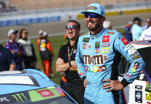 Kyle Busch prepares for a NASCAR Cup Series auto race at Las Vegas Motor Speedway, Sunday, Sept. 15, 2019. (AP Photo/Chase Stevens)