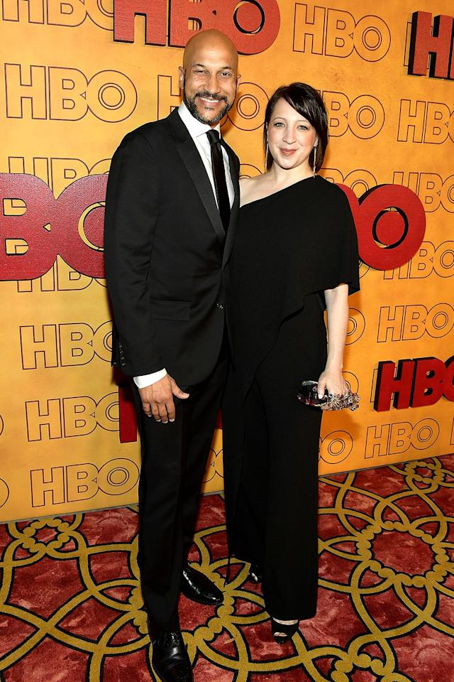 <p>Keegan-Michael Key and Elisa Pugliese at HBO's Post Emmy Awards Reception at the Plaza at the Pacific Design Center. (Photo: Matt Winkelmeyer/Getty Images) </p>