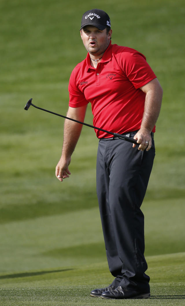 Patrick Reed reacts after missing his par putt on the seventh hole hole during the final round of the Humana Challenge golf tournament on the Palmer Private course at PGA West, Sunday, Jan. 19, 2014, in La Quinta, Calif. (AP Photo/Matt York)