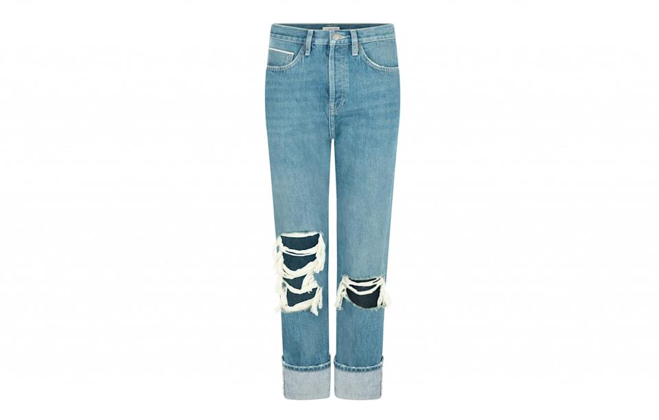 """<p><a rel=""""nofollow noopener"""" href=""""http://www.i-and-me.com/products/denim/ripped-slim-leg-selvedge-jeans-vintage/"""" target=""""_blank"""" data-ylk=""""slk:I AND ME, £160"""" class=""""link rapid-noclick-resp"""">I AND ME, £160</a> </p>"""