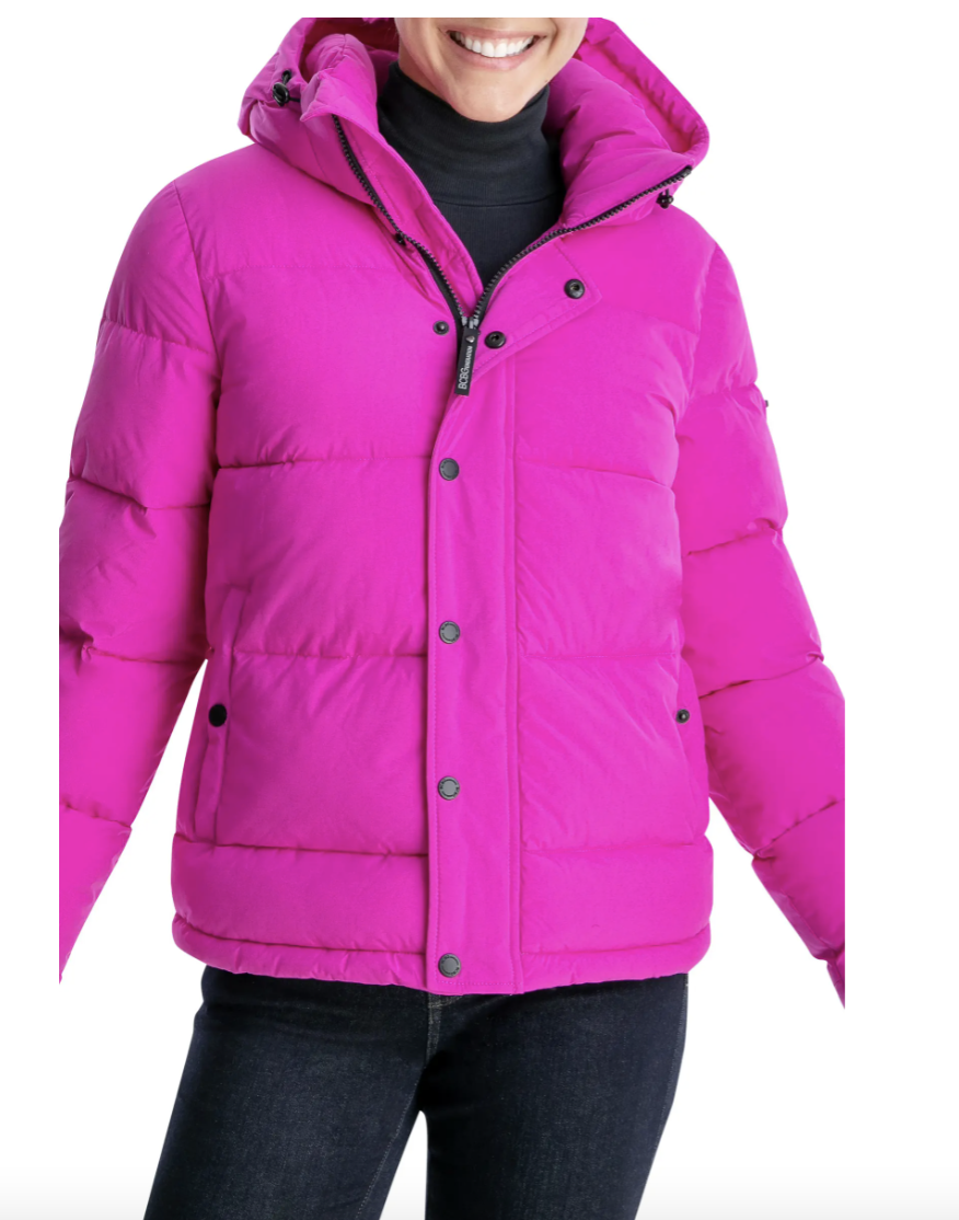 BCBGeneration Eco Fill Hooded Puffer Jacket in bright magenta
